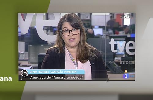Entrevista a Ana Isabel García, abogada de Repara tu deuda, en Televisión Española sobre la Ley de la Segunda Oportunidad