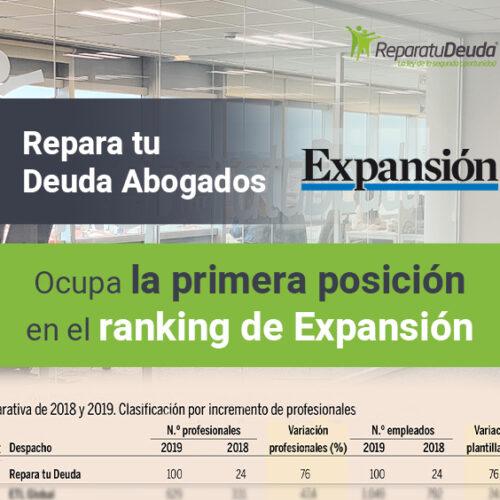 Repara tu Deuda Abogados ocupa la primera posición en el ranking de Expansión