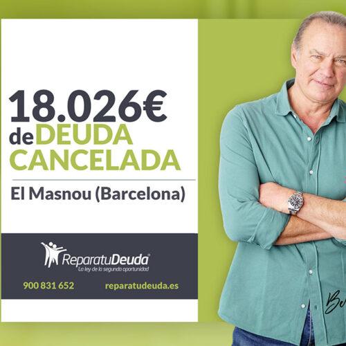 Repara tu Deuda Abogados cancela 18.026 € en El Masnou (Barcelona) con la Ley de Segunda Oportunidad
