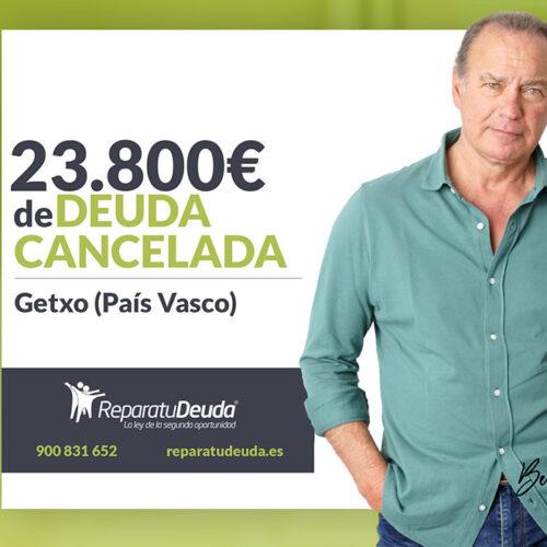 Repara tu Deuda Abogados cancela 23.800 € en Getxo (Bizkaia) con la Ley de Segunda Oportunidad